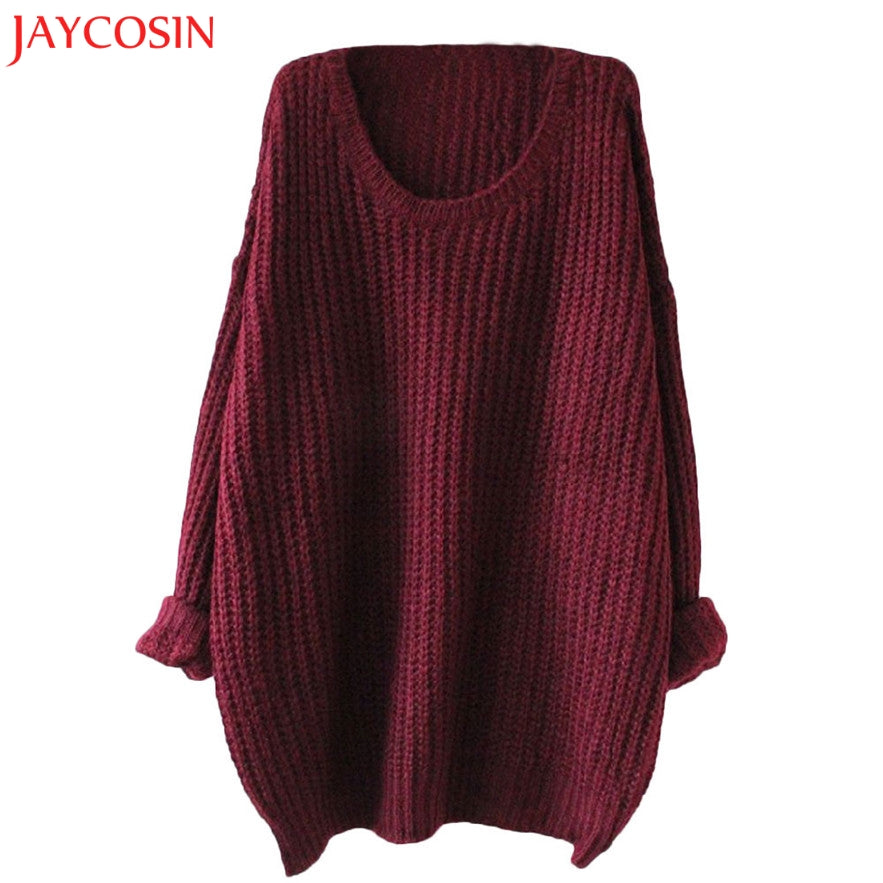 JAYCOSIN 2017 Women Warm Sweater Autumn Winter Solid Cotton Loose Knitted Casual O-neck Female Pullovers Sweater Jumper 30%-lilugal