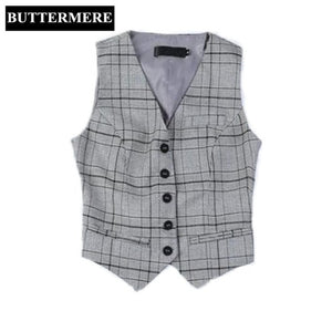 BUTTERMERE Brand Clothing Women'S Vest Suit Ladies Plaid Vest Working Styles Coffee Spring Waistcoat Fashion V Neck Chalecos-lilugal