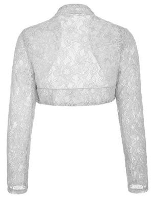 plus size Black White Lace Bolero Elegant Ladies Shrug Long Sleeve Wedding Evening Prom Cropped Lace Bolero Shrugs-lilugal