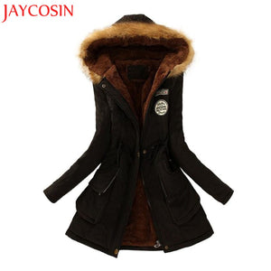 JAYCOSIN 2017 Womens Warm Long Coat Fur Collar Hooded Jacket Slim Winter Parka Outwear Coats Sep1230 drop shipping-lilugal