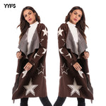 2018 Autumn And Winter Knit Jacket Star Pattern Sweater Female Long Loose Coat-lilugal