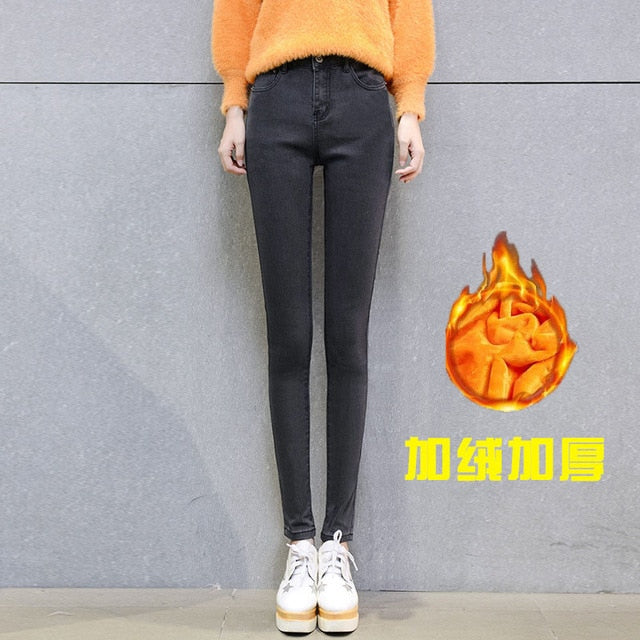 Winter women's basics Thick warm denim pants Casual stretch skinny pencil jeans Fashion Mom's slim waist warm big size jeans-lilugal