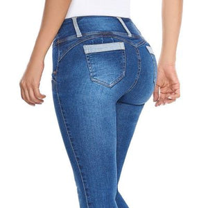 Women's Stretch Denim Skinny Slim Jeans Butt Lifting Pencil Pants High Waist Jeans Trousers-lilugal