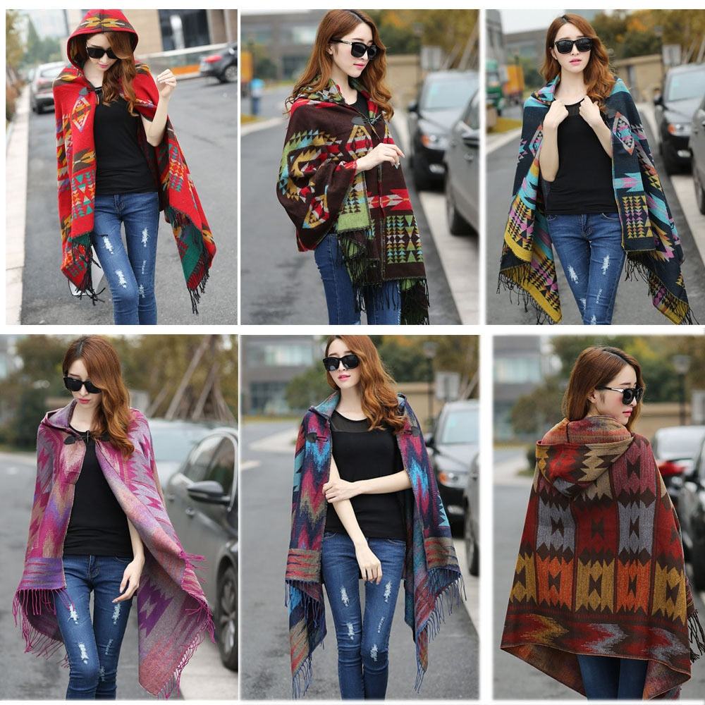 New Fashion Fringe Ethnic Geometric Women's Batwing Cape Poncho Knit Top Cardigan Sweater Coat Hip Scarf Shawl Free Shipping-lilugal
