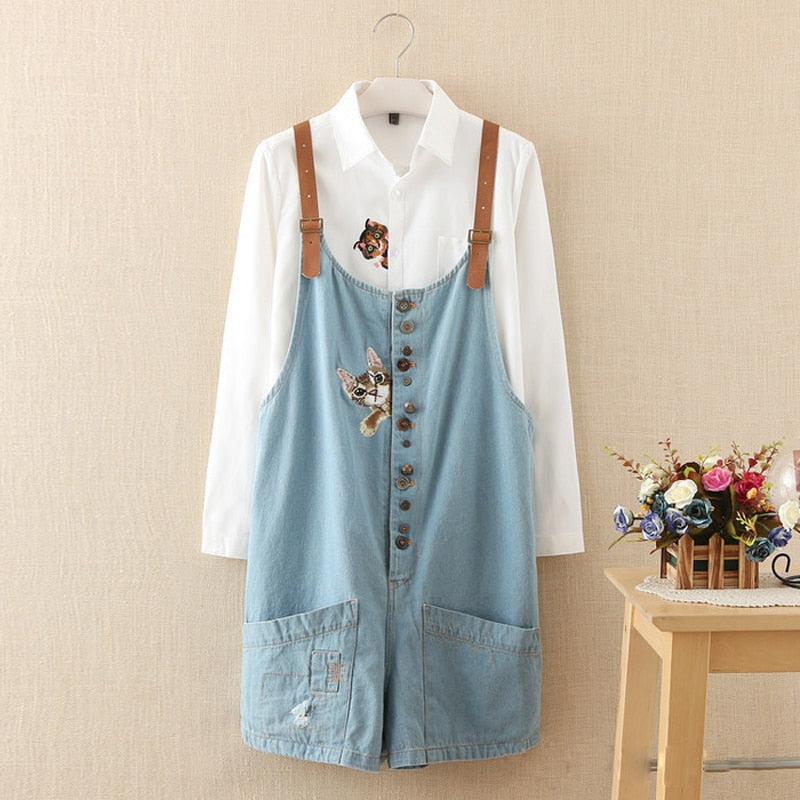 autumn winter new funny female cats embroidery pattern denim jeans overalls women suspenders wide leg Bib boots short jumpsuit-lilugal