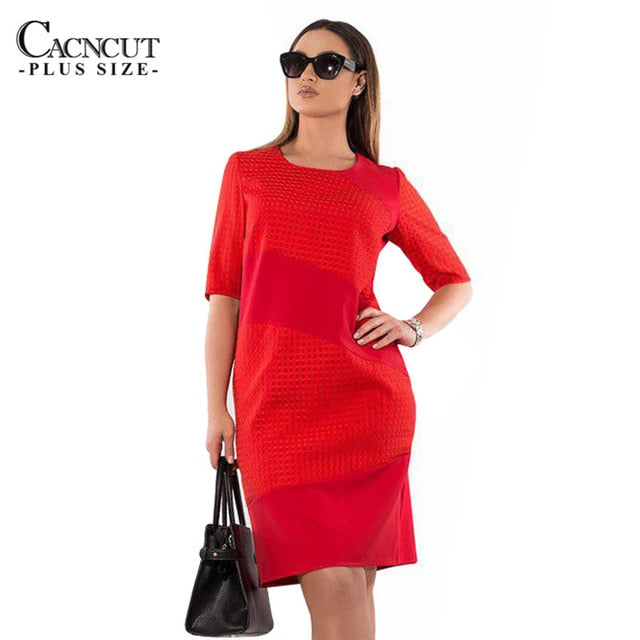 CACNCUT 5XL 6XL 2018 Plus Size Solid Patchwork Dress Women Summer Big Size  Elegant Knee- 100c8531bdb6