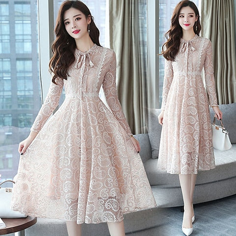 4f49f45737 2018 Autumn Winter New 2XL Plus Size Vintage Lace Black Midi Dresses Women  Bodycon Pink Dress Party Long Sleeve Runway Vestidos