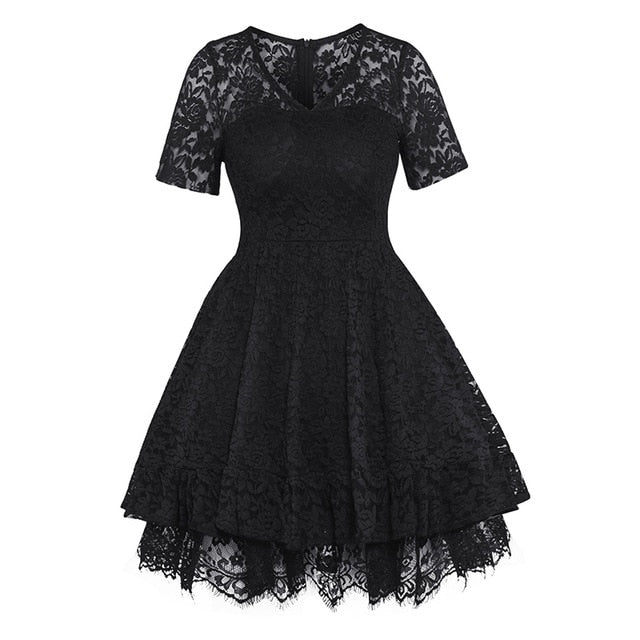 Women Lace Ball Gown Dress Vintage Small Size V-Neck A-line Dress Summer 1c814e1809e3