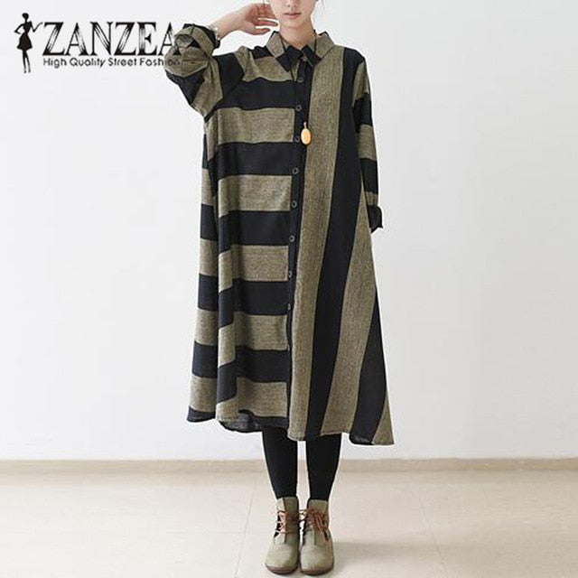 e183d2ce9e84f Plus Size 2018 ZANZEA Women Autumn Striped Retro Long Shirt Dress Buttons  Turn-down Collar