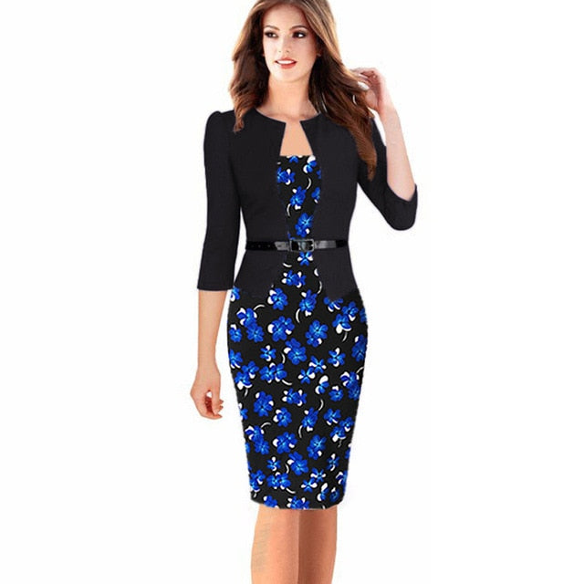 Business Dress For Office Work Women Plus Size 4XL 5XL 6XL 7XL Floral Polka  Dot Gingham 63eaf354892f