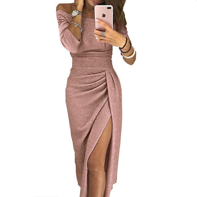Skyuu Sexy Dress Plus Size Winter Dresses Party Night Club 2018 Autumn Women With Slit Ladies Dress Slash Neck Long Sequin Dress-lilugal