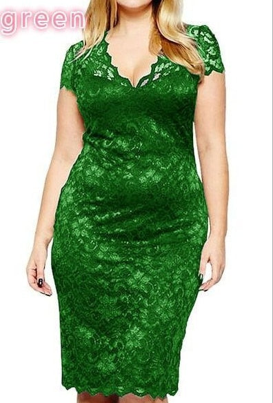 5XL Robe 2018 Summer Dress Big Over Size Elegant Short Sleeve Midi Lace Dress Women Office Work Dresses Plus Size Party Vestido-lilugal