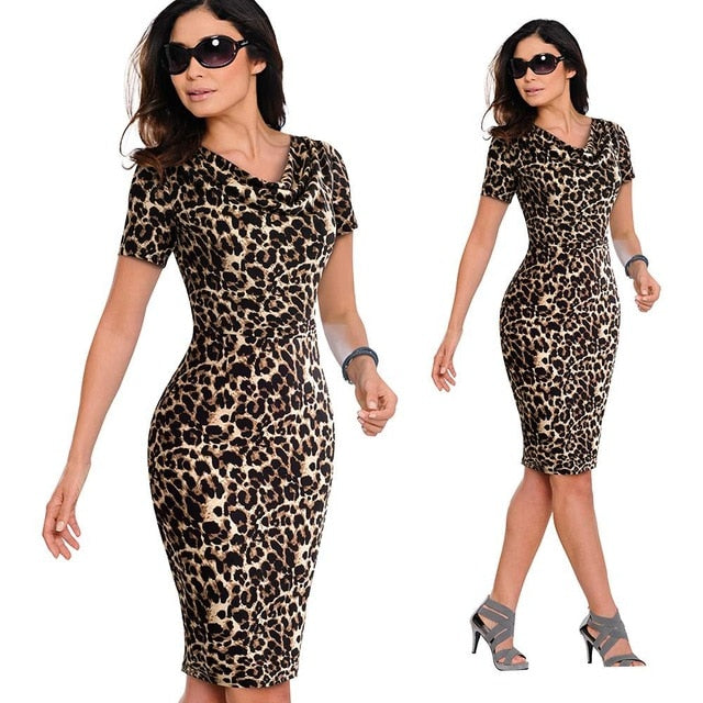0094c6cef038 Summer Women Vintage Leopard Party Office Dress Sexy Short Sleeve Bodycon  Casual Pencil Business Dress EB452