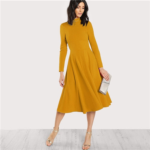 3fd712826a Sheinside Plain Fit and Flare Elegant Midi Dress Office Ladies Mock Neck  Pleated A Line Women