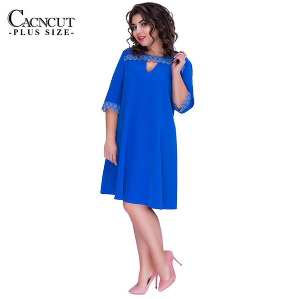 CACNCUT Plus Size 6XL Casual Women Dress Big Size A-line Style Summer Dress  Female b1194a633d3d