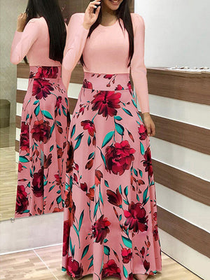 VITIANA Women Maxi Long Floor Length Dress Female 2018 Autumn Long Sleeve Pink Floral Print High Waist Elegant Party Dresses-lilugal