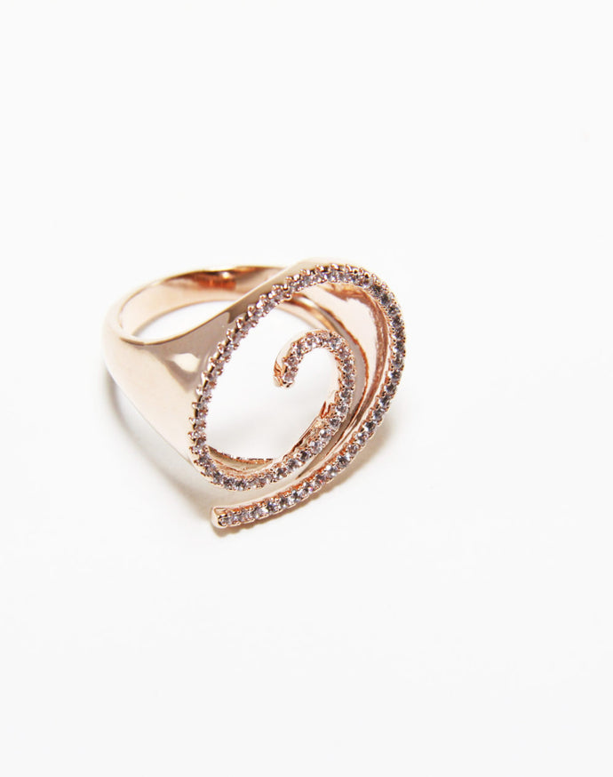 Serra swirl ring rose gold plate with zirconia cubics