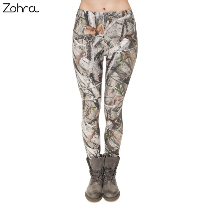 Women Camo Branches 3D Printing Slim Legging