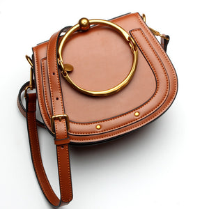 Women Round Handle Genuine Leather bag