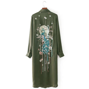 Vintage Chic Peacock Flower Embroidery Long Shirts