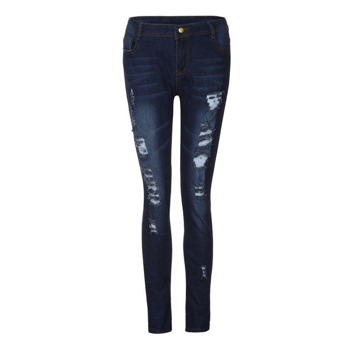Women Skinny Ripped Holes Jeans