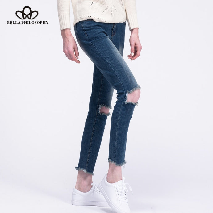 Women holes knee navy blue cotton Jeans