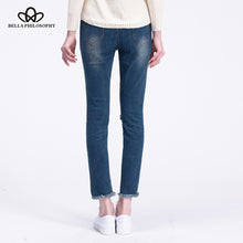 Charger l'image dans la galerie, Women holes knee navy blue cotton Jeans