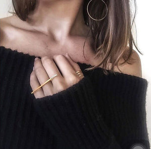 Minimalist Personality Long Bar  Rings