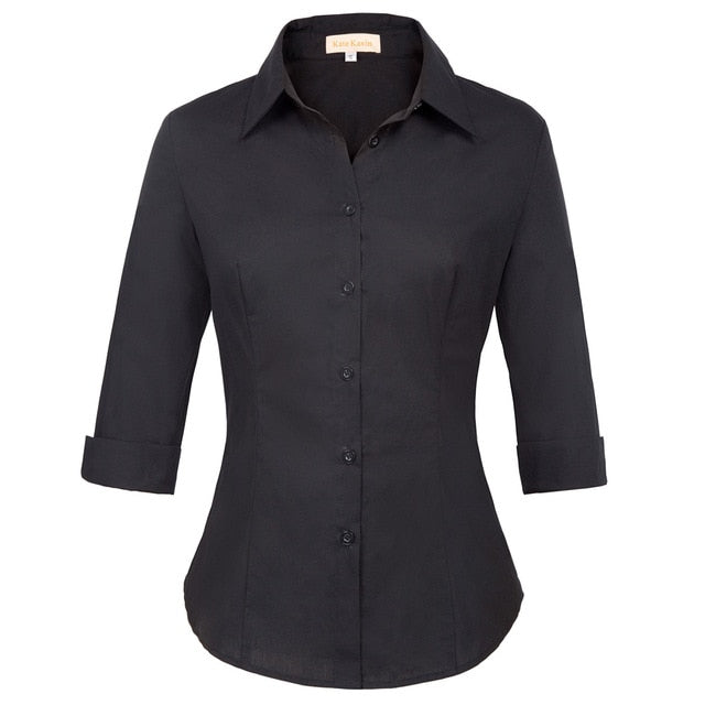 Womens Solid 3/4 Roll Up Sleeves Casual Shirt