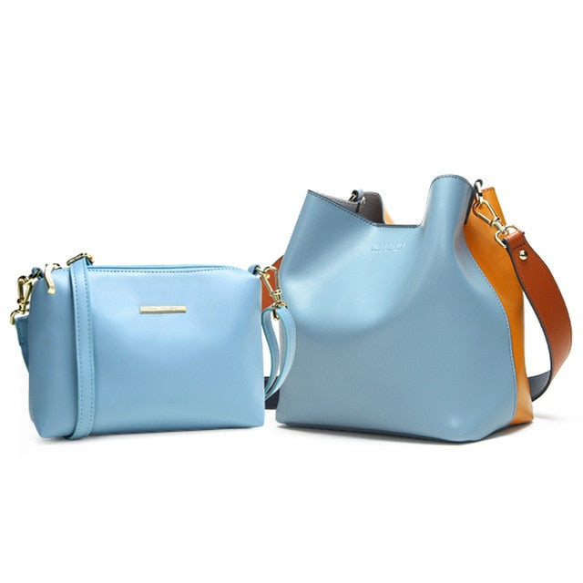 Genuine Leather Shoulder Bags Spell Color