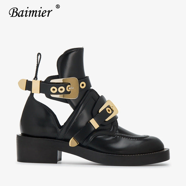 Women Baimier Gold Silver Buckle Ankle Boots