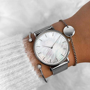 Women Mavis Hare Silver Seashell Mesh Wristwatches with Stainless Steel Crystal Cuff