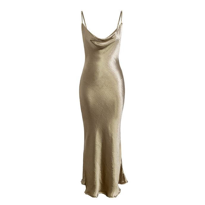 Gold satin Women backless dress