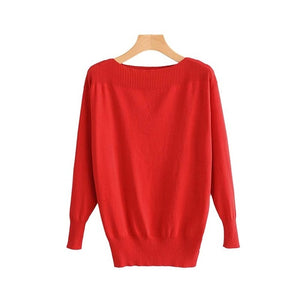Women slash neck basic knitted sweaters