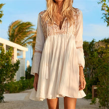 Charger l'image dans la galerie, Boho Midi Dress White Cotton Ruffle Tassel