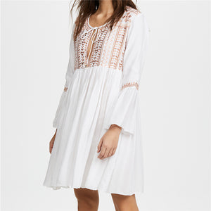 Boho Midi Dress White Cotton Ruffle Tassel