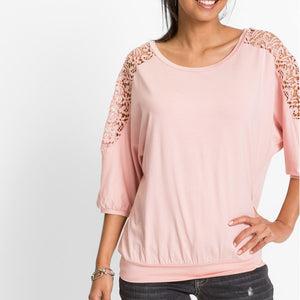 Women's Long Sleeve Lace Patchwork Top
