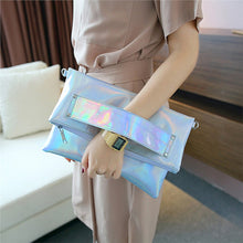 Charger l'image dans la galerie, Women Silver Hologram PU Leather Crossbody Clutch