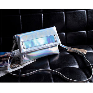 Women Silver Hologram PU Leather Crossbody Clutch