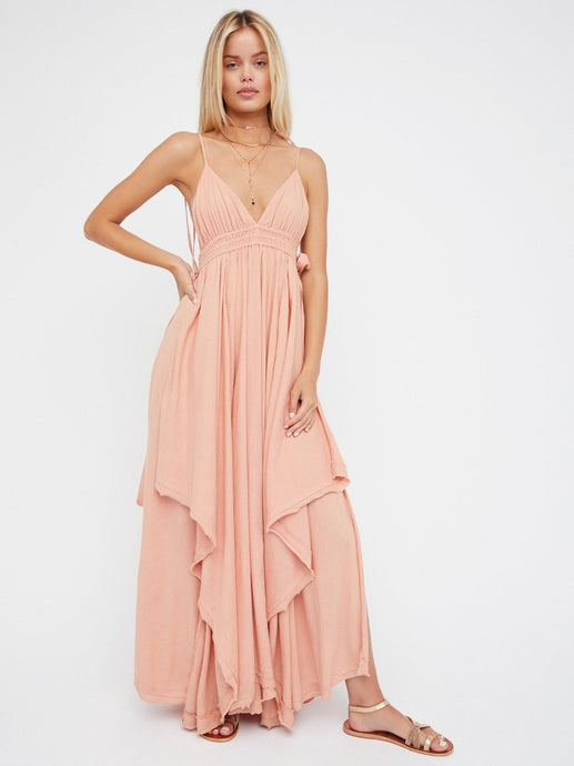 Tropical Heat Long Dress V Neck Strappy Dress Boho People Sleeveless Holiday Vestidos Mujer Cotton Asymmetrical Maxi Dress