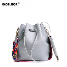 Charger l'image dans la galerie, Vegan Leather Women's Bucket Bag with Colorful Strap
