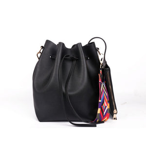 Vegan Leather Women's Bucket Bag with Colorful Strap