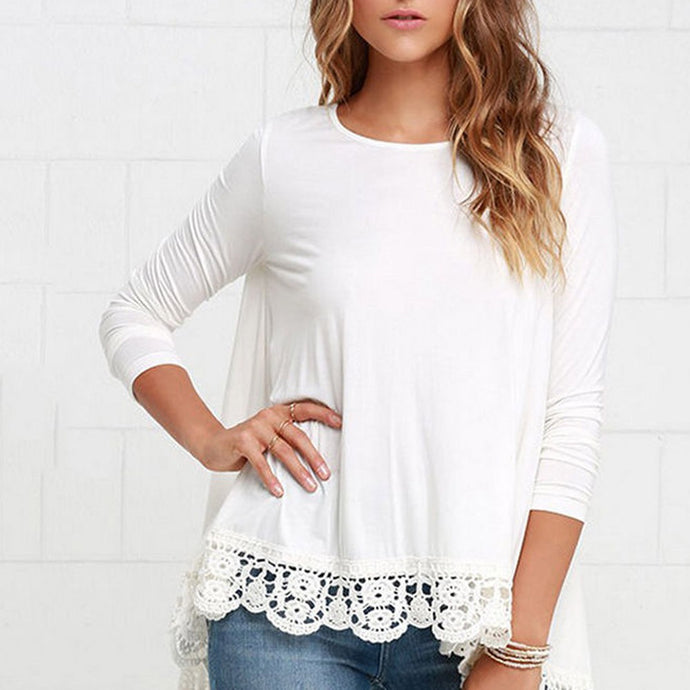 Women's Lace Long Sleeve  Loose Cotton Tops