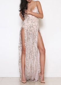 Women Sequin Long Maxi Dress Sheer Mesh
