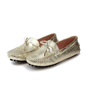 Women US Size 5 6 7 8 9 New Gold silver REAL Leather Driving shoes