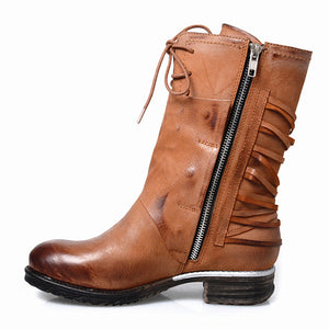 Women Genuine Leather Lace Up Riding Boot
