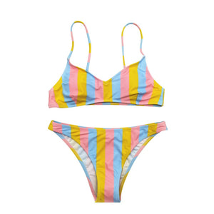 Women's Multicolor Striped Women's Swimsuit Bikini