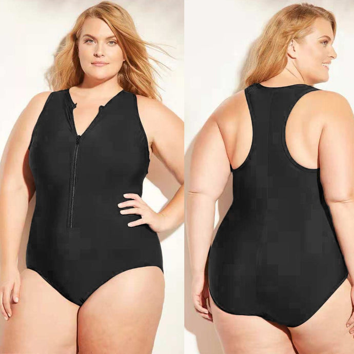 Women One Piece Zip Swimsuit Plus Size