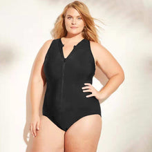 Charger l'image dans la galerie, Women One Piece Zip Swimsuit Plus Size