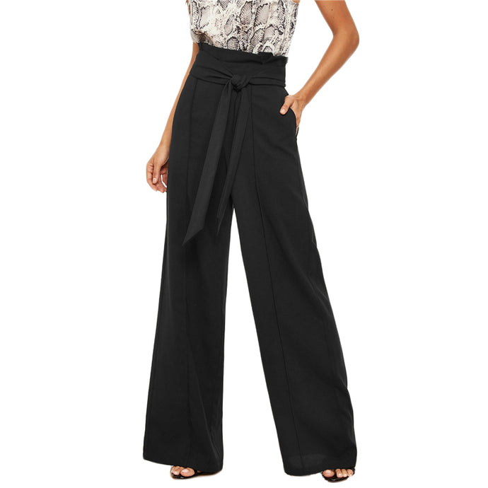 Women Black Paper-bag Waist Wide Leg Pants